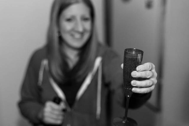 Picture of Katie with champagne.