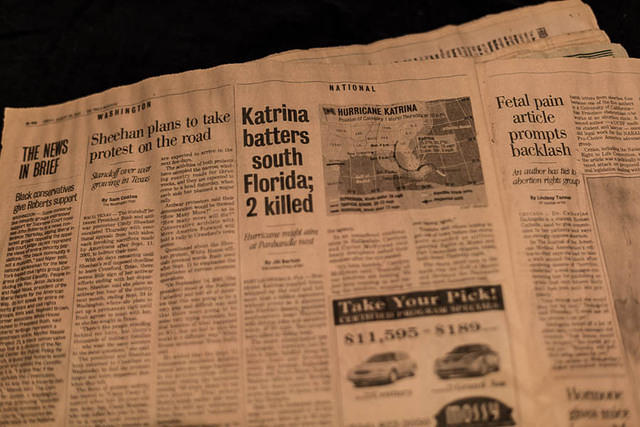 Picture of hurricane Katrina newspaper.