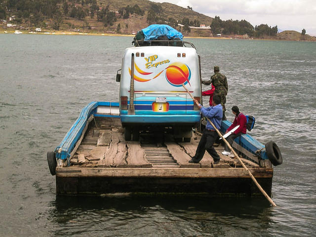 Picture of bus on Lake Titicaca.