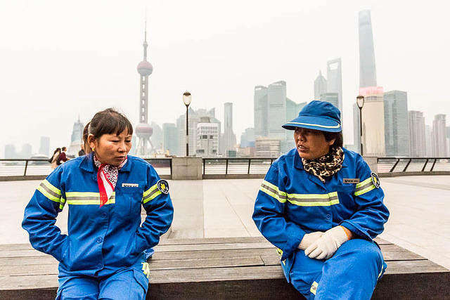 Shanghai - Picture of cleaners.