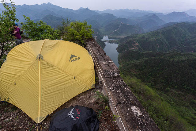 Morgan: Picture of camping on the Great Wall of China.