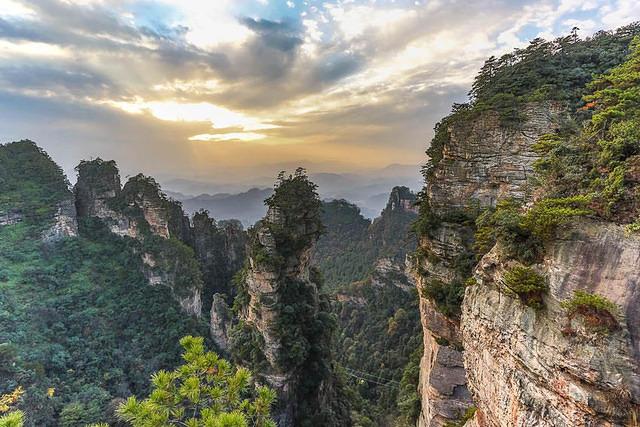 Zhangjiajie: Picture of rock formations.