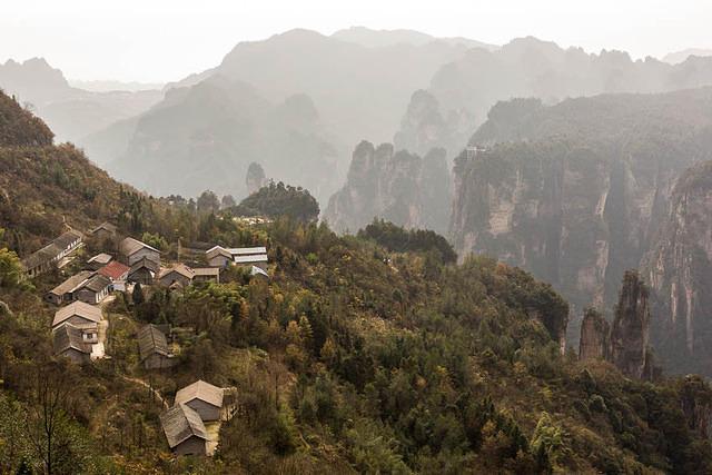 Zhangjiajie: Picture of village.
