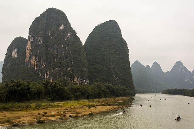 Yangshuo: Picture of hills and river.