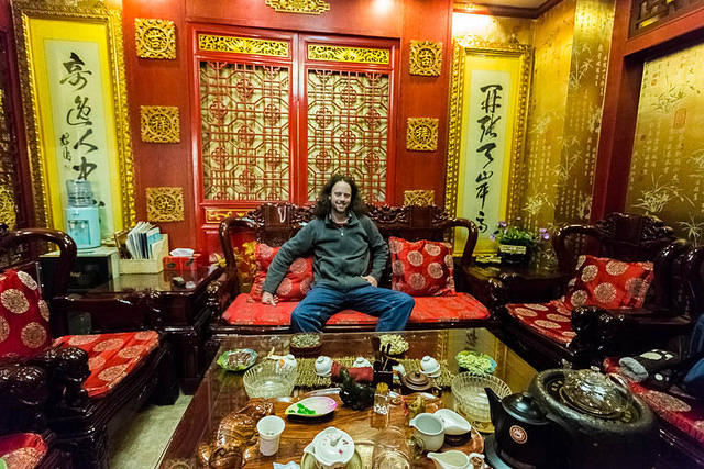 2016: Picture of Dan Perry at a tea house in Zhangjiakou, China.