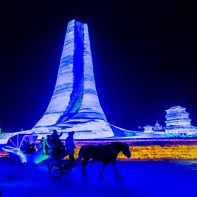 2016: Picture of a horse and buggy at night at the Harbin ice festival in China.