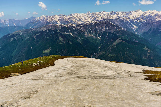 India: Picture of Huzefa on the snow above Manali, India.