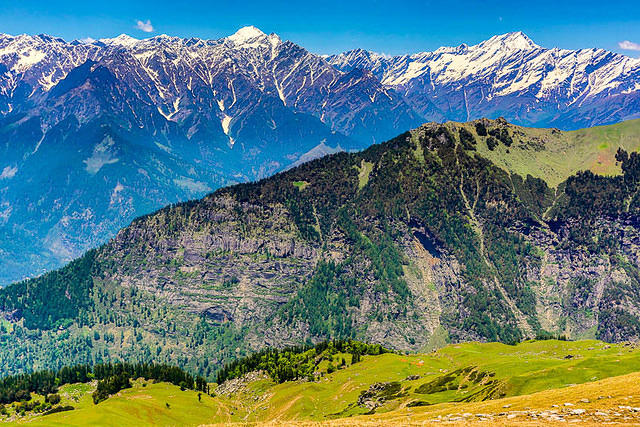 India: Picture of scenic mountain view near Manali, India.