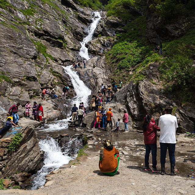 India: Picture of waterfall near Manali, India.