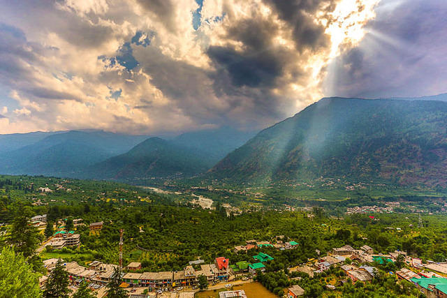 India: Picture of the valley below Nagar, India.