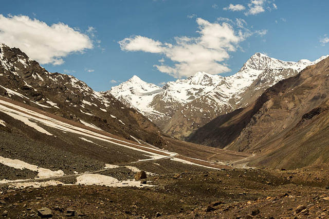 India: Picture of mountain scenery near Keylong, India.