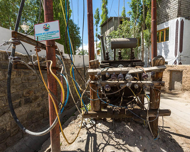 India: Picture of electrical wiring in India.