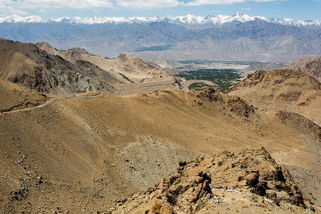 India: Picture of Leh, India from above.
