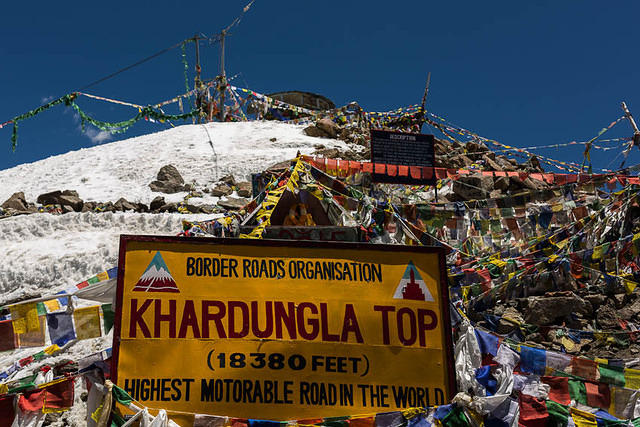 India: Picture of elevation sign at the Khardung La.