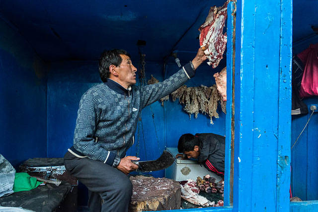 India: Picture of a butcher in Leh, Ladakh, India.