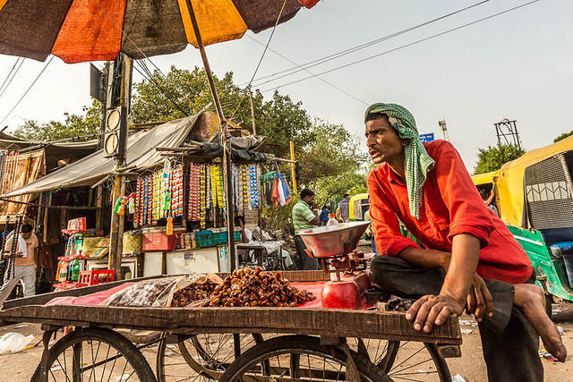 India: Picture of a street vendor in Agra, India.