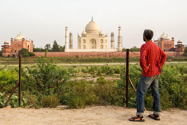 India: Picture of G looking at the Taj Mahal.