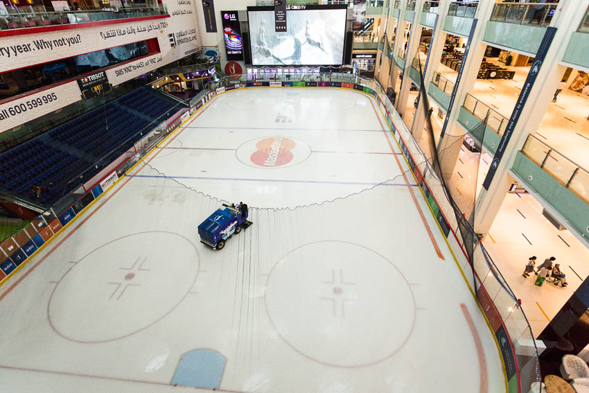 Dubai: Picture of hockey rink in the Dubai Mall.