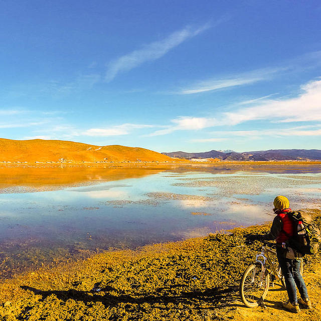 Chain Fail: Picture of woman with bicycle overlooking Napa Lake, Yunnan, China.