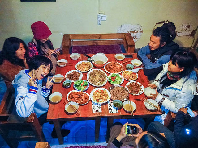 2016: Picture of group dinner in Shaxi, China.