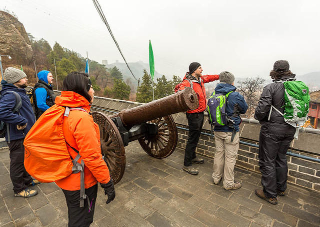 Gubeikou Great Wall - Picture of cannon, with Hutong employees.