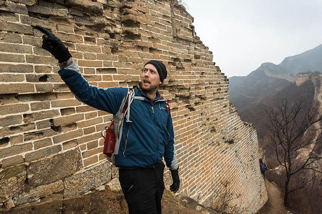Gubeikou Great Wall - Picture of Simon pointing.