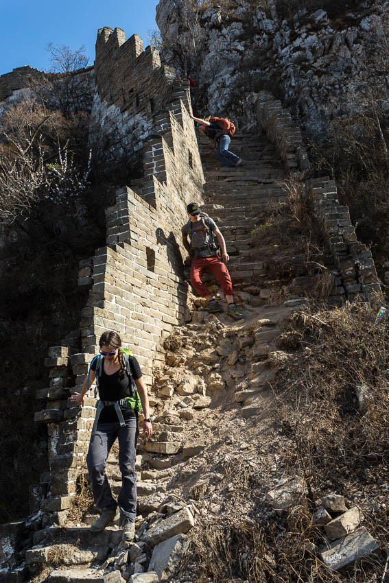 Picture of down-climbing the Great Wall.