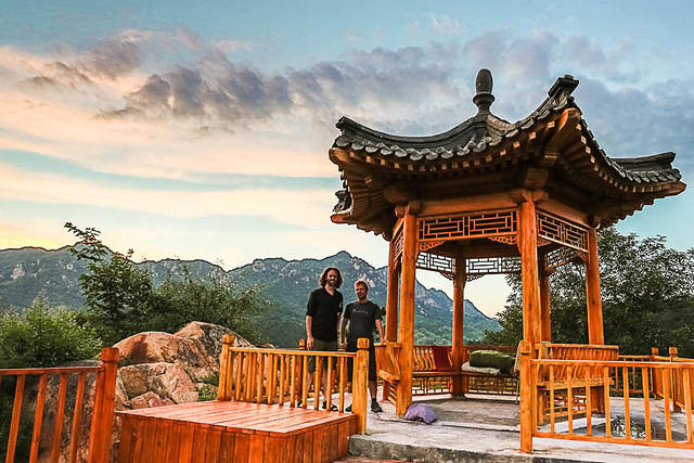 Silver Pagodas: Picture of Dan and Paddy at a pagoda.