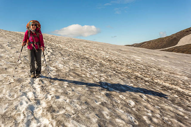 Iceland: Picture of Katie hiking on a glacier.