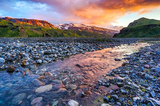 Iceland: Picture of sunset at Þórsmörk.