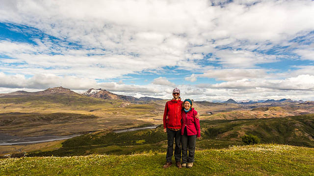 Iceland: Picture of Katie and dan on top of Valahnúkur.
