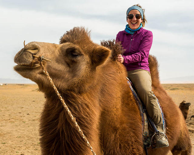 Gobi: Picture of Katie on a camel.