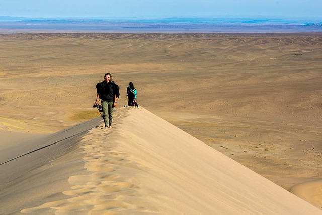 Gobi: Picture of Tammy on a sand dune.