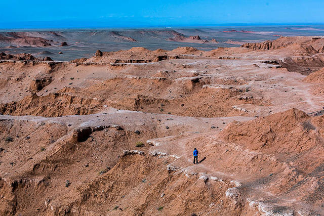 Gobi: Picture of Katie on the Flaming Cliffs.