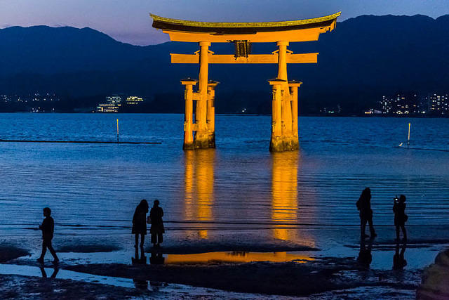 Picture of Great Torii on Miyajima Island.
