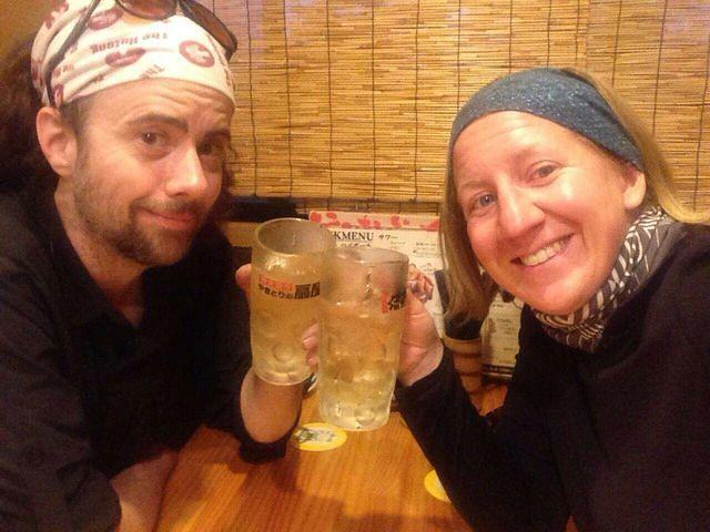 Picture of Katie and Dan drinking.