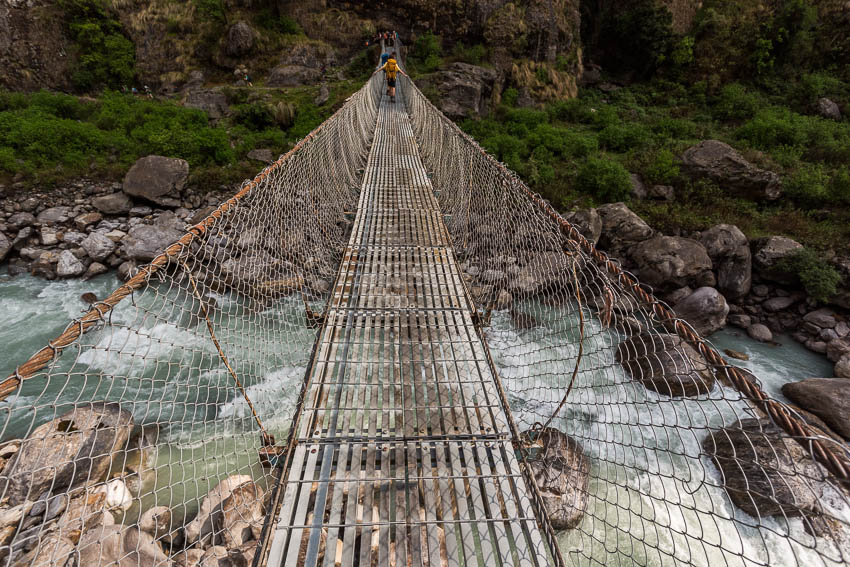 Picture of suspension bridge across the Marsyangdi River.