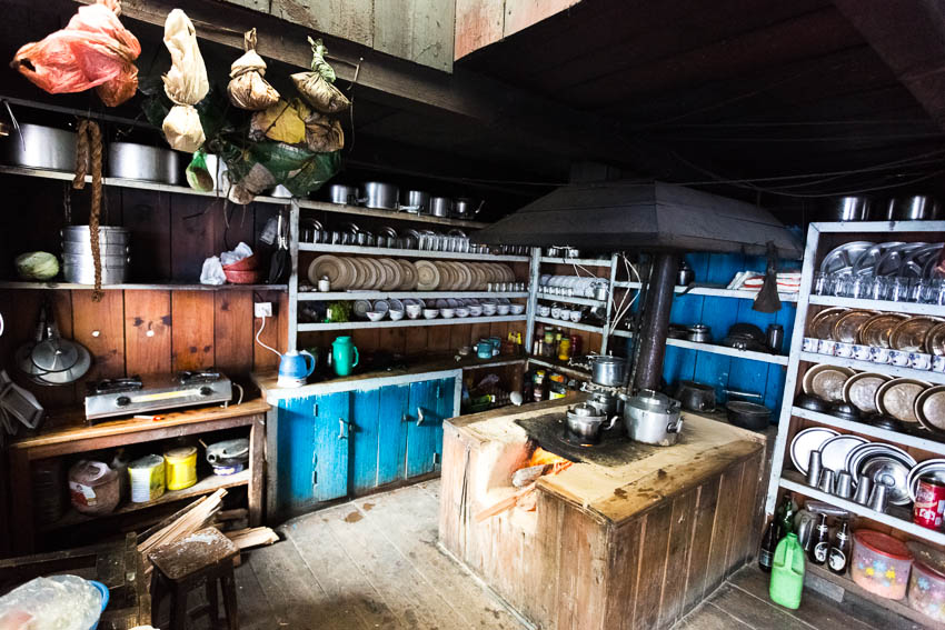 Picture of guesthouse kitchen on the Annapurna Circuit.