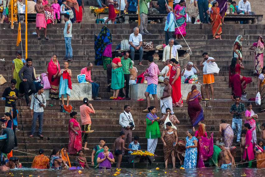 Picture of bathing people in the Ganges River.