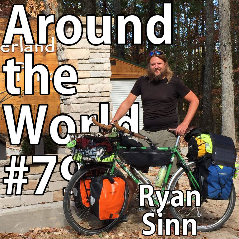 Cycle touring: Picture of Ryan Sinn and his bicycle.