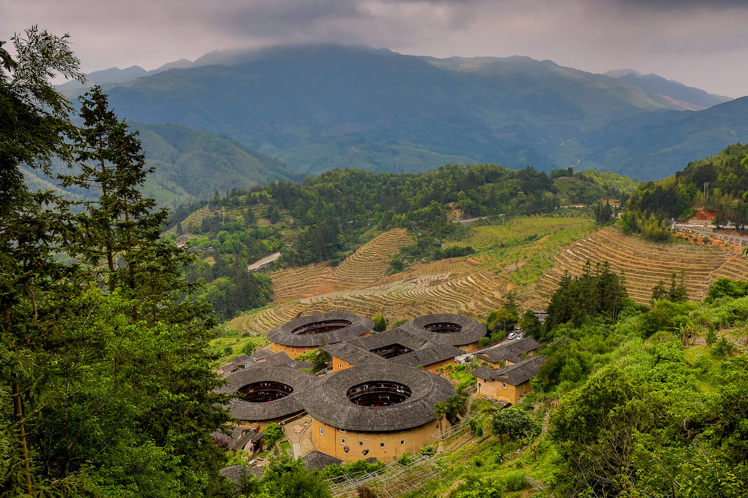 Picture of Tianluokeng tulou cluster.