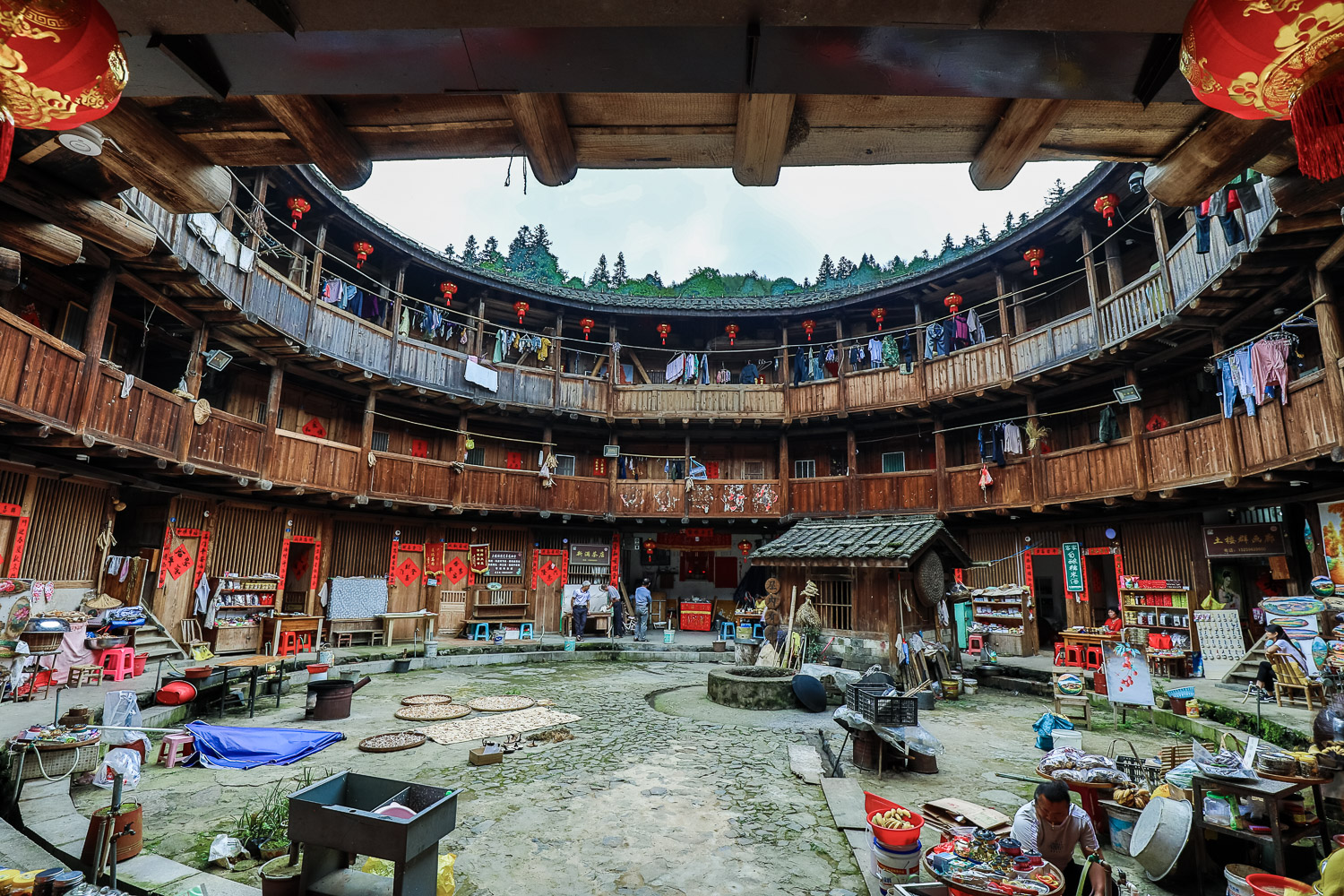 Picture of tulou from the inside.
