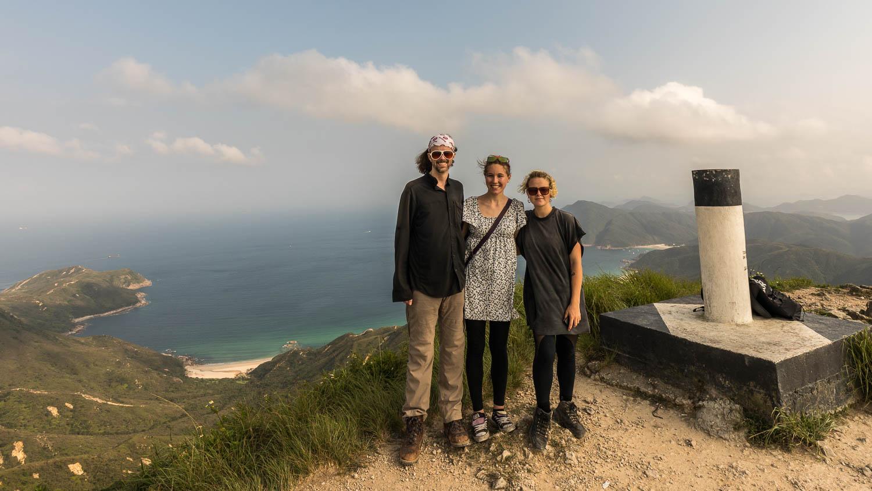 Picture of Dan, Miljana, and Sim from the summit of Sharp Peak.