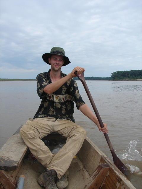Picture of Dan in canoe.