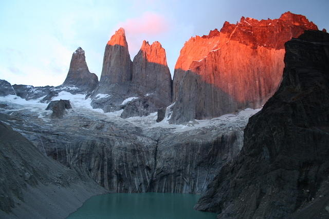Torres del Paine at sunrise.