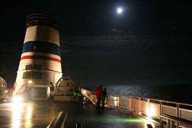 Picture of the top of the ship at night.